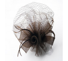 Ozdoba do vlasů Coffee Feather and Mesh Fascinator on Comb