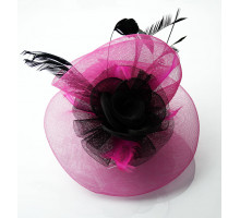 Ozdoba Black/Pink Feather and Flower Fascinator on Comb