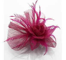 Ozdoba Fuchsia Feather & Flower Fascinator on Comb