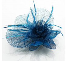 Ozdoba do vlasů Teal Feather & Flower Fascinator on Comb