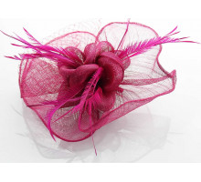 Klip Feather & Mesh Flower Fascinator