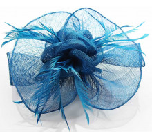 Ozdoba Teal Feather & Mesh Flower Fascinator on Clip
