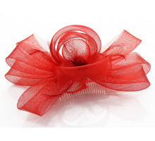 Ozdoba Red Feather & Flower Fascinator on Comb