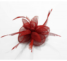Ozdoba do vlasů Red Feather & Mesh Flower Fascinator on Clip