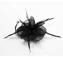 Ozdoba do vlasů Black Feather & Mesh Flower Fascinator on Clip