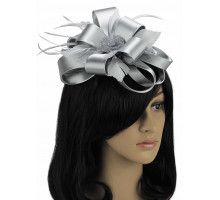 Ozdoba do vlasů Grey Feather & Flower Fascinator on Comb
