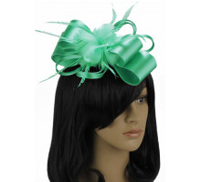 Ozdoba do vlasů Emerald Feather & Flower Fascinator on Comb