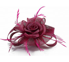 Ozdoba Fuchsia Feather and Mesh Flower Fascinator