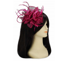 Ozdoba do vlasů Fuchsia Feather and Mesh Flower Fascinator
