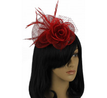 Ozdoba do vlasů Red Feather & Mesh Flower Fascinator on Comb