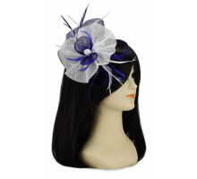 Ozdoba Navy / White Feather and Mesh Flower Fascinator