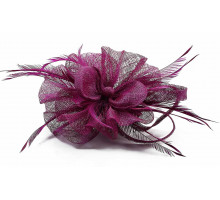 Ozdoba Purple Feather and Mesh Flower Fascinator