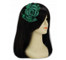 Ozdoba Green Feather and Mesh Flower Fascinator