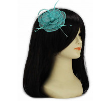 Ozdoba Emerald Feather and Mesh Flower Fascinator