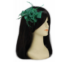 Ozdoba do vlasů Green Feather and Mesh Flower Fascinator