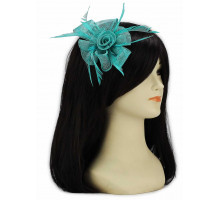 Ozdoba do vlasů Emerald  Feather and Mesh Flower Fascinator