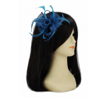 Ozdoba do vlasů Teal Feather and Mesh Flower Fascinator