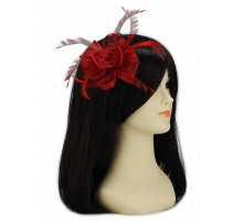 Ozdoba do vlasů Red Feather and Mesh Flower Fascinator