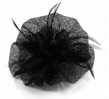 Ozdoba do vlasů Black Feather & Mesh Flower Fascinator