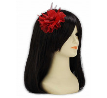 Ozdoba do vlasů Red Feather & Mesh Flower Fascinator