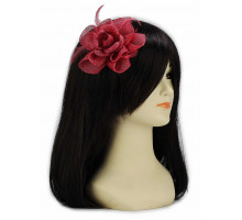 Ozdoba Pink Feather and Mesh Flower Fascinator