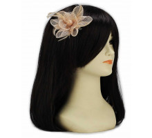 Ozdoba- Nude Feather and Mesh Flower Fascinator