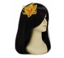 Ozdoba do vlasů Gold Feather and Mesh Flower Fascinator