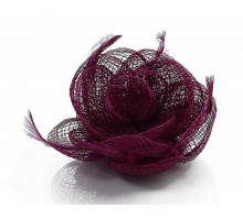 Ozdoba do vlasů Purple Feather and Mesh Flower Fascinator