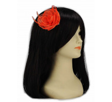 Ozdoba Orange Feather and Mesh Flower Fascinator