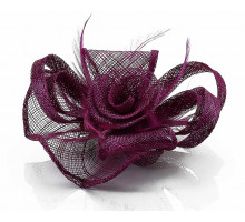 Ozdoba- Purple Feather and Mesh Flower Fascinator