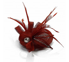 Ozdoba do vlasů Red  Mesh Hat Feather Fascinator