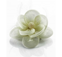 Ozdoba do vlasů Ivory Feather & Mesh Flower Fascinator on Clip