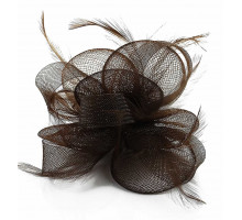 Ozdoba do vlasů Coffee Feather & Mesh Flower Fascinator on Clip