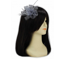 Ozdoba do vlasů Grey Feather & Mesh Flower Fascinator on Clip