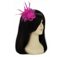 Ozdoba Pink Feather & Mesh Flower Fascinator on Clip