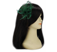 Ozdoba do vlasů Green Feather & Mesh Flower Fascinator on Clip