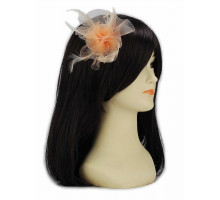 Ozdoba do vlasů Nude Feather & Mesh Flower Fascinator on Clip