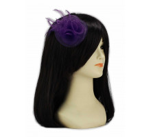 Ozdoba do vlasů Purple Feather & Mesh Flower Fascinator on Clip