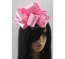 Ozdoba  Pink Feather & Flower Fascinator