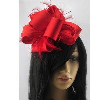 Ozdoba Red Feather & Flower Fascinator