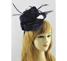 Ozdoba do vlasů Navy Feather & Flower Fascinator